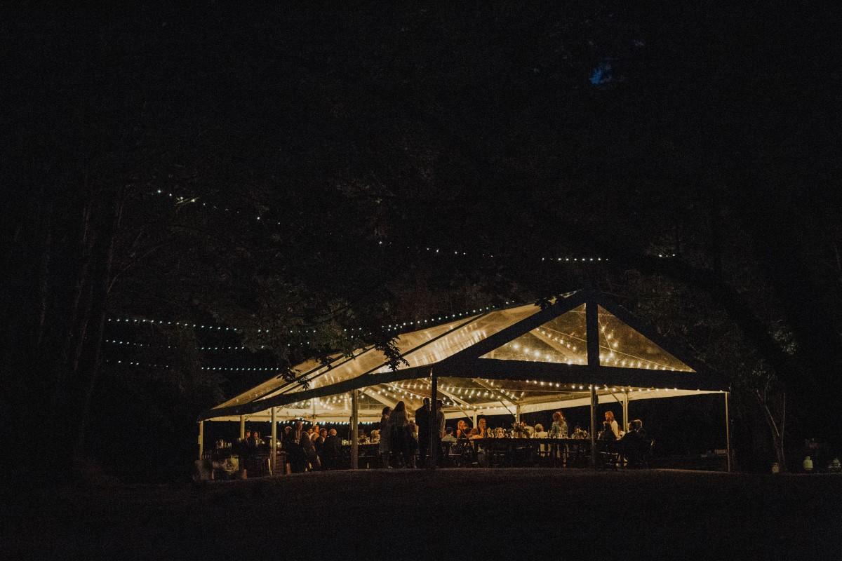 Reception Tent with LightsElegant Woodland West Coast Weddings Magazine Vancovuer