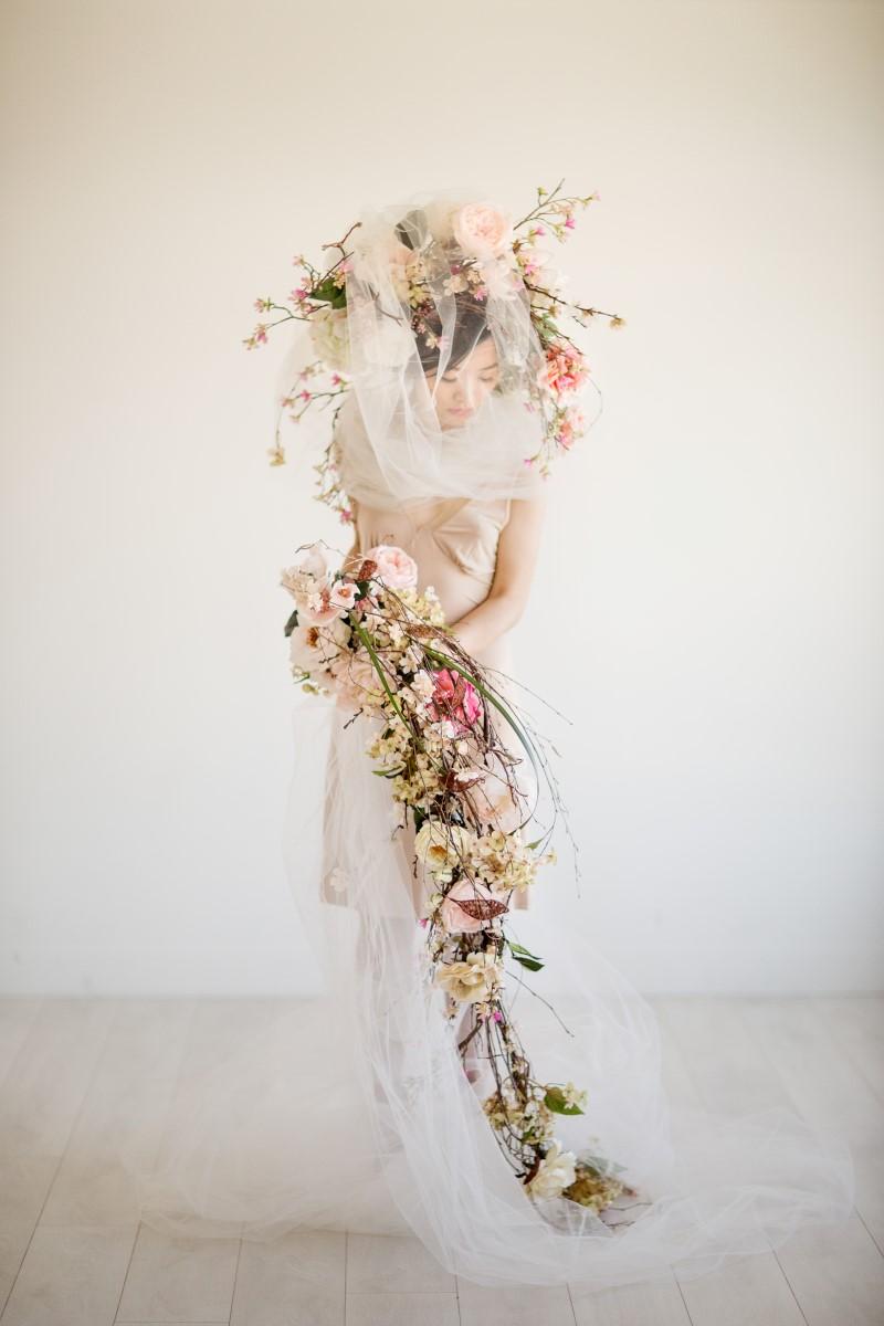 Bridal Veil Asian Botanical Beauty Maru Photography Deborah Lee Designs West Coast Weddings Magazine