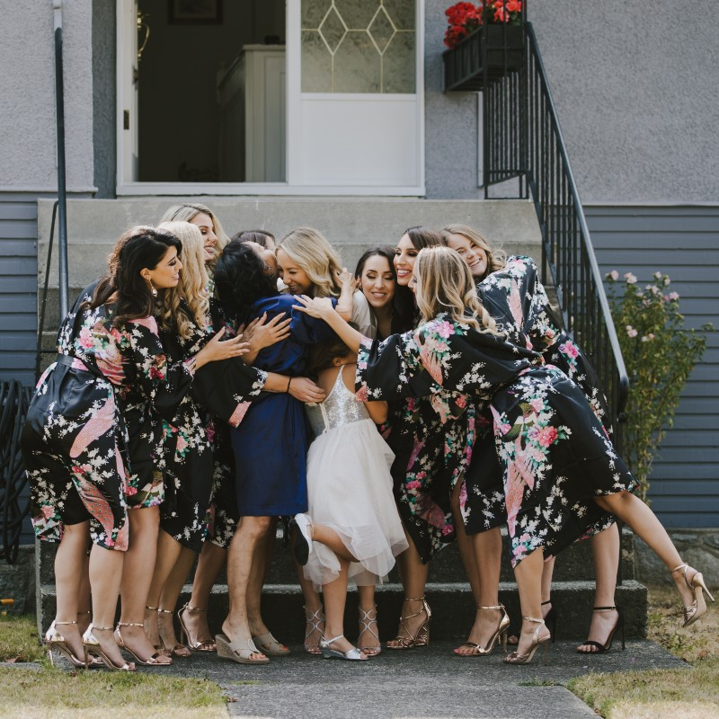 Bridesmaids Hugging Kayseeb abd Stevan Silk Sophistication Ophelia Photography Vancouver West Coast Weddings Magazine