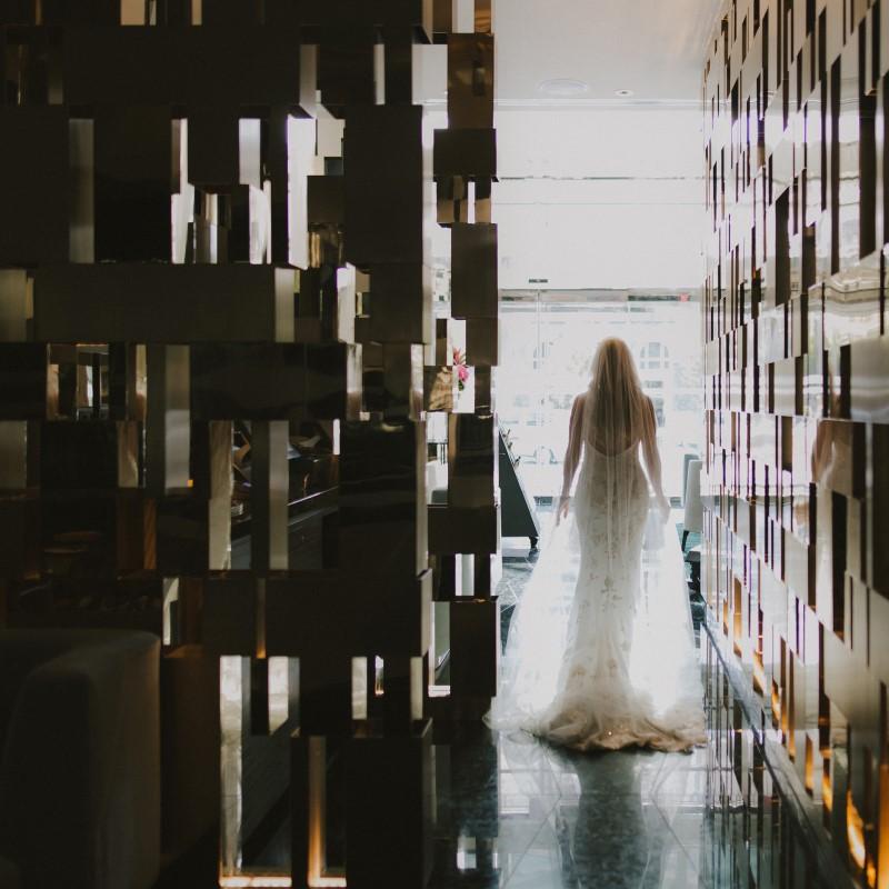 Bride Reflecting Kayseeb abd Stevan Silk Sophistication Ophelia Photography Vancouver West Coast Weddings Magazine