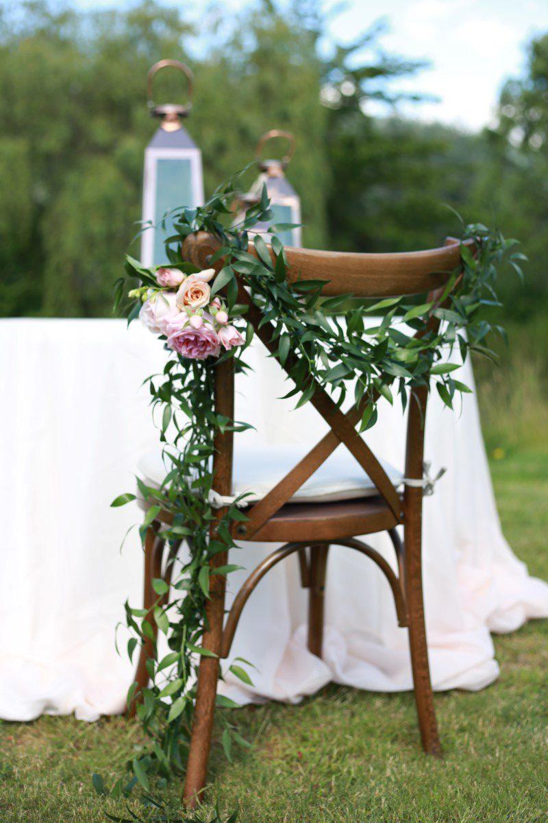 Chair with Garland Champagne Wedding West Coast Weddings Magazine