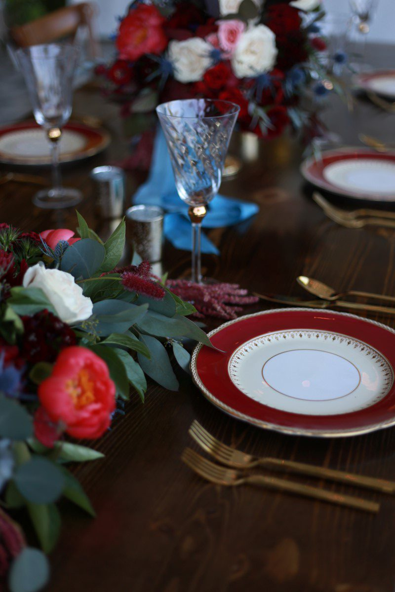 Burgandy Floral Head Table and Edged Plates Champagne Reception