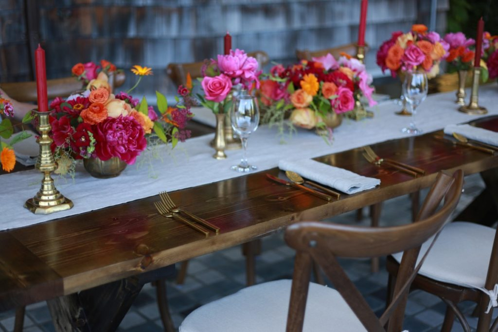 Head Table Decor Pink Roses Champagne Wedding