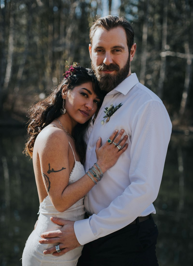 Sun Dappled Newlyweds in Indochino and pure magnolia Vancouver Wedding Magazine