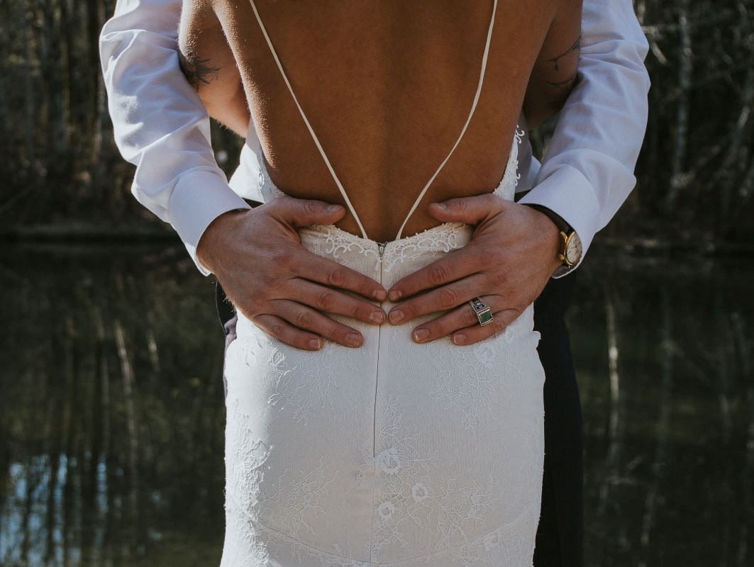 Sun Dappled bride in Pure Magnolia backless gown Vancouver Wedding Magazine
