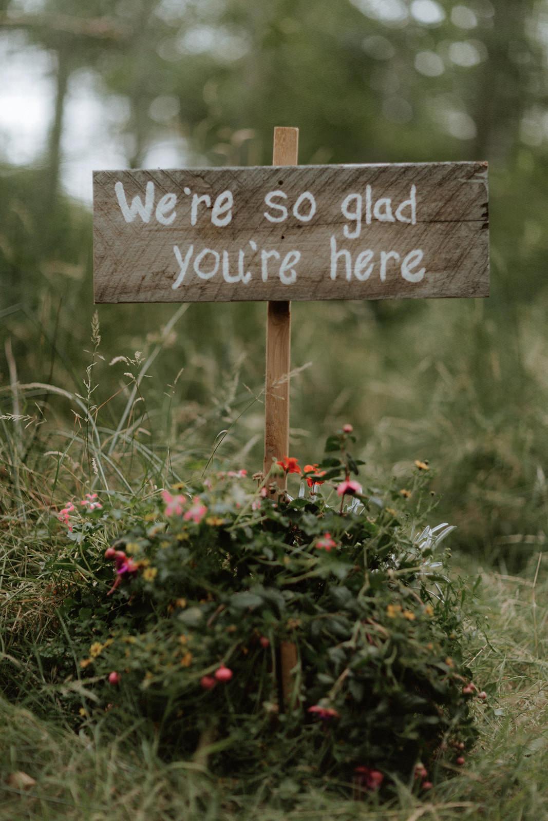 Rustic Sign at Anvil Island Wedding Bon Vivant Group Vancouver