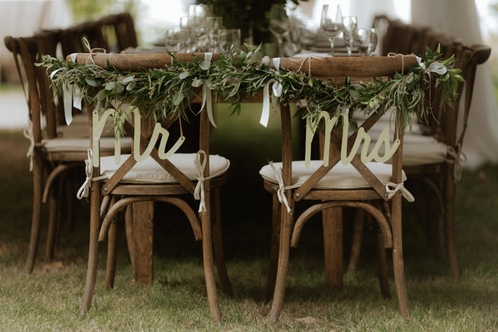 Bride and groom rustic chairs at Anvil Island Wedding BC Reception Decor