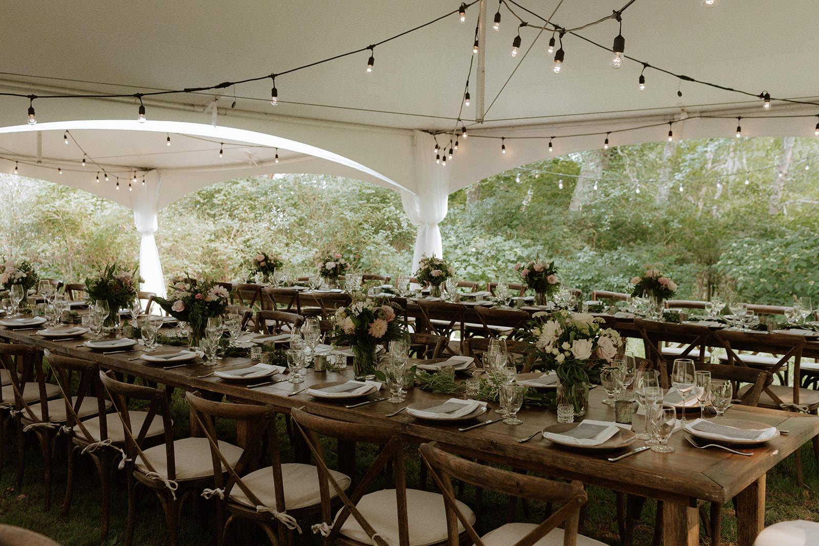 Tent Reception at Rustic Anvil Island Wedding West Coast Weddings Magazine