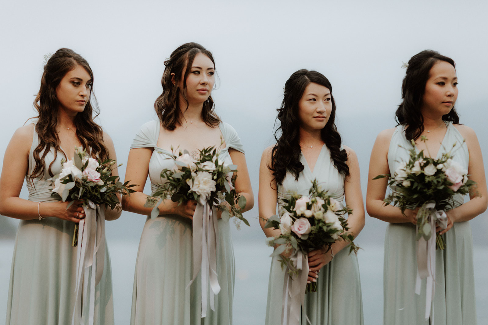 Pretty Bridesmaids at Rustic Anvil Island Wedding