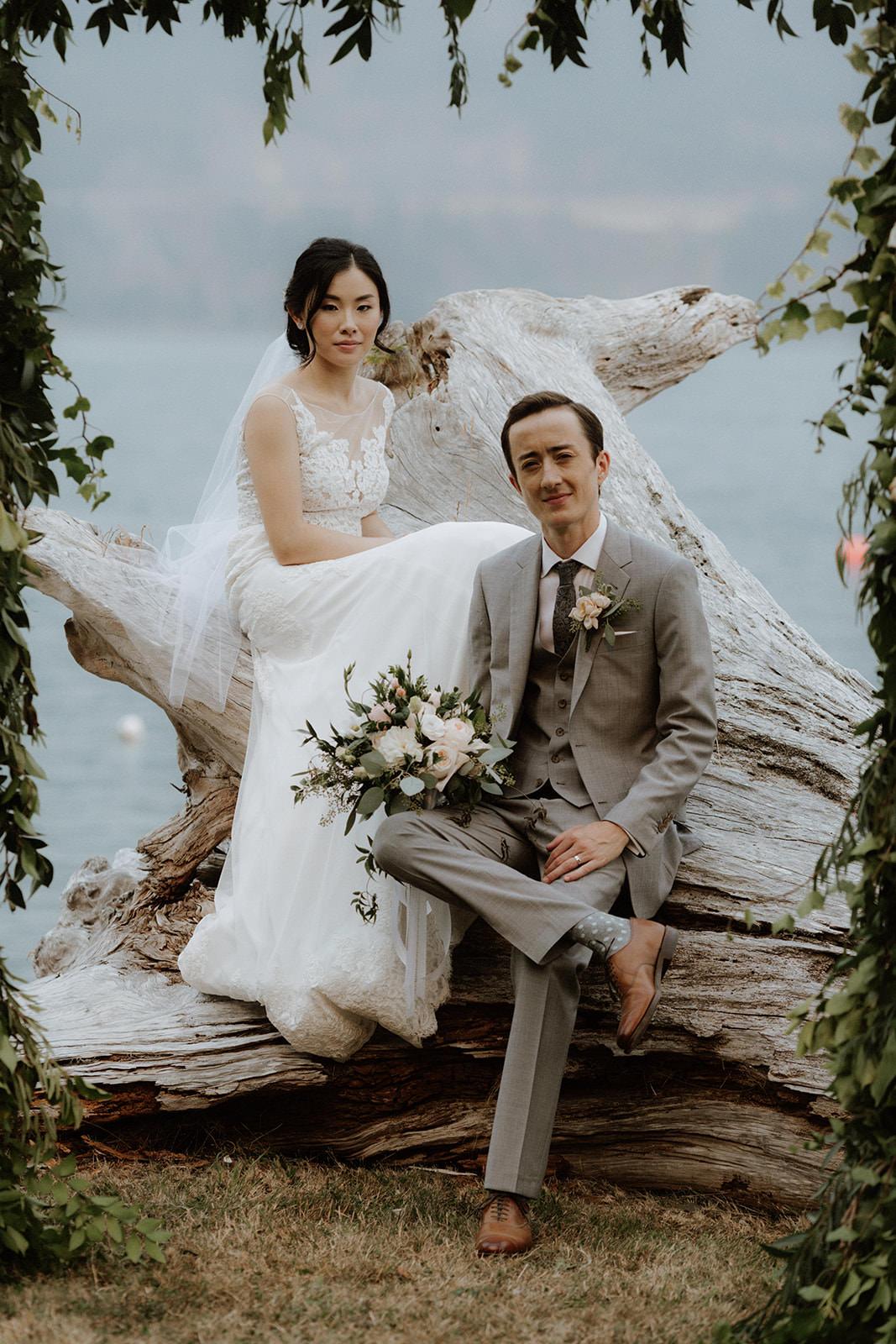 Newlyweds at Rustic Anvil Island Wedding Tomasz Wagner Photography BC Wedding Magazine