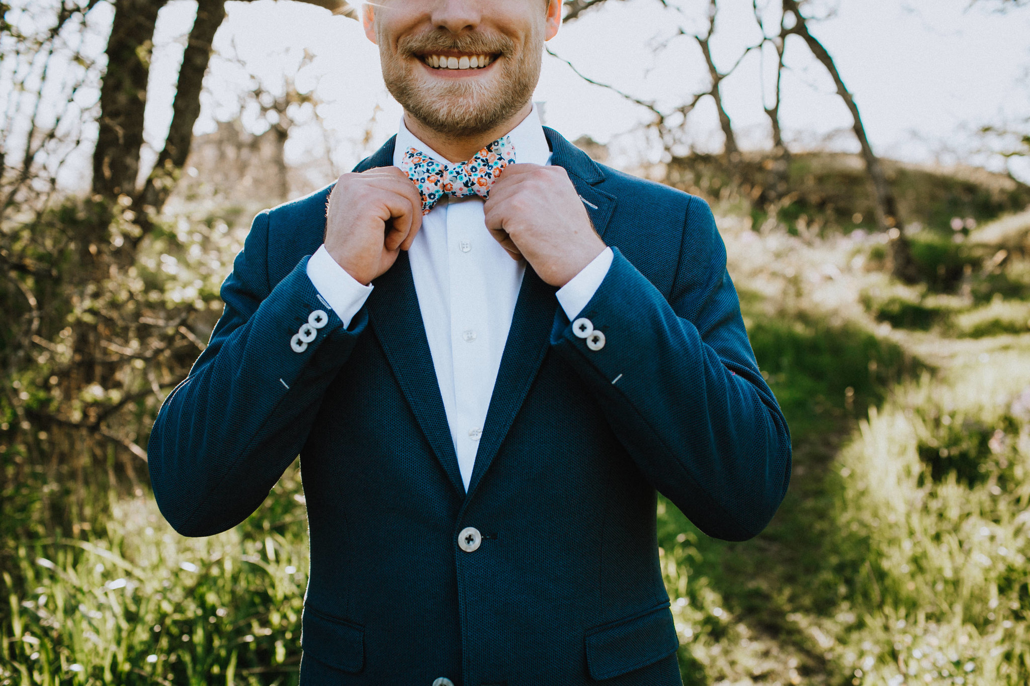 Beach Bridal Session Groom with Bowtie Outlooks for Men Vancouver Island