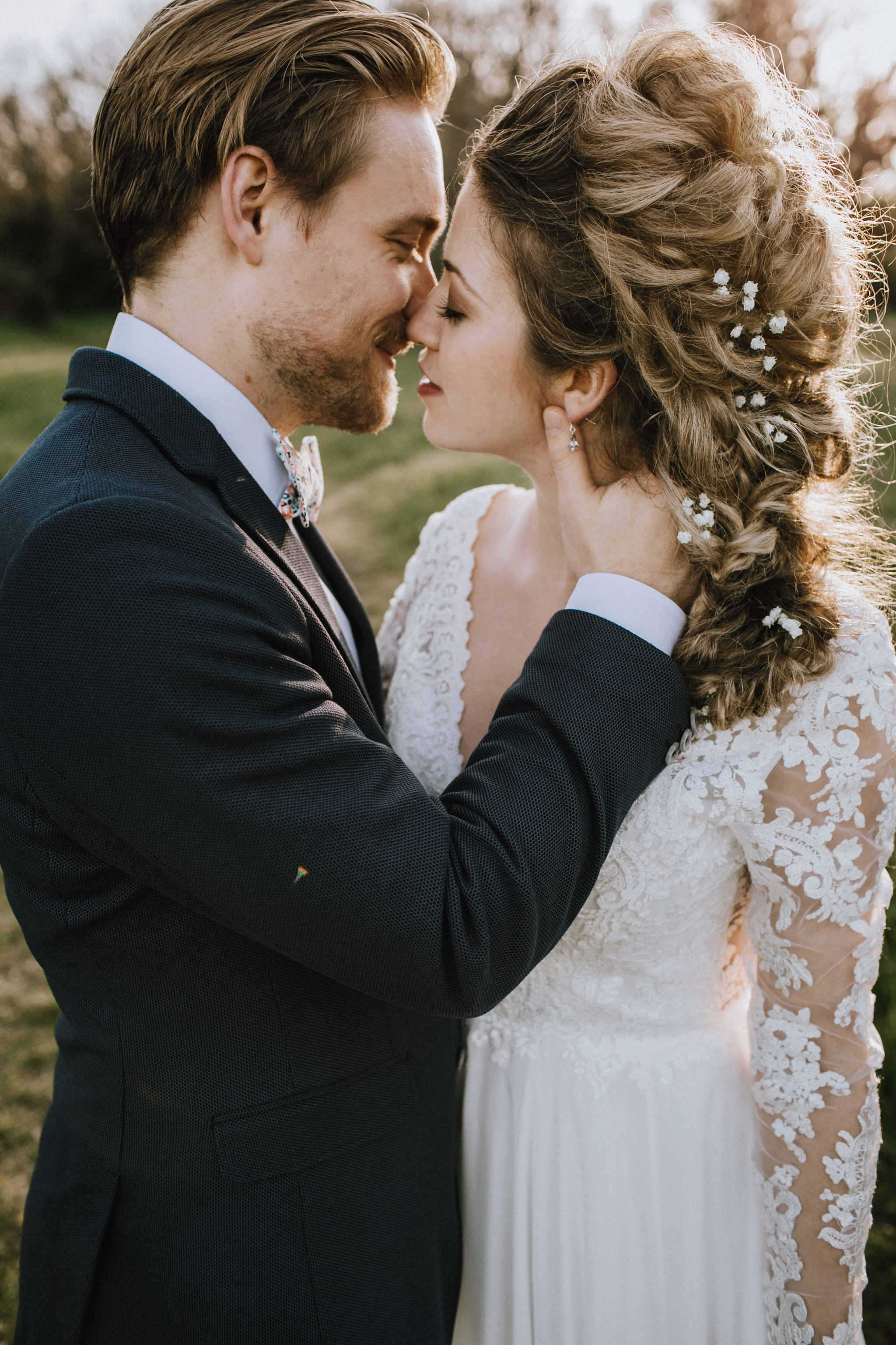Kissing Couple in Beach Bridal Session Outlooks for Men Vancouver Island