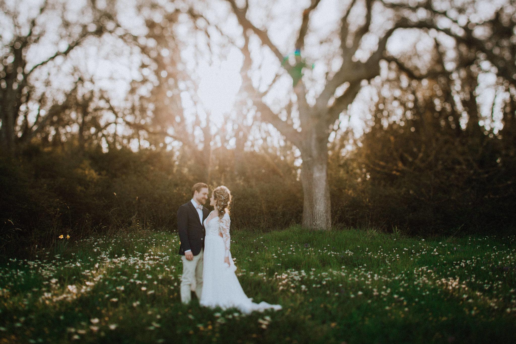 Beach Bridal Session Sunshine through trees Outlooks for Men BC Wedding Magazine