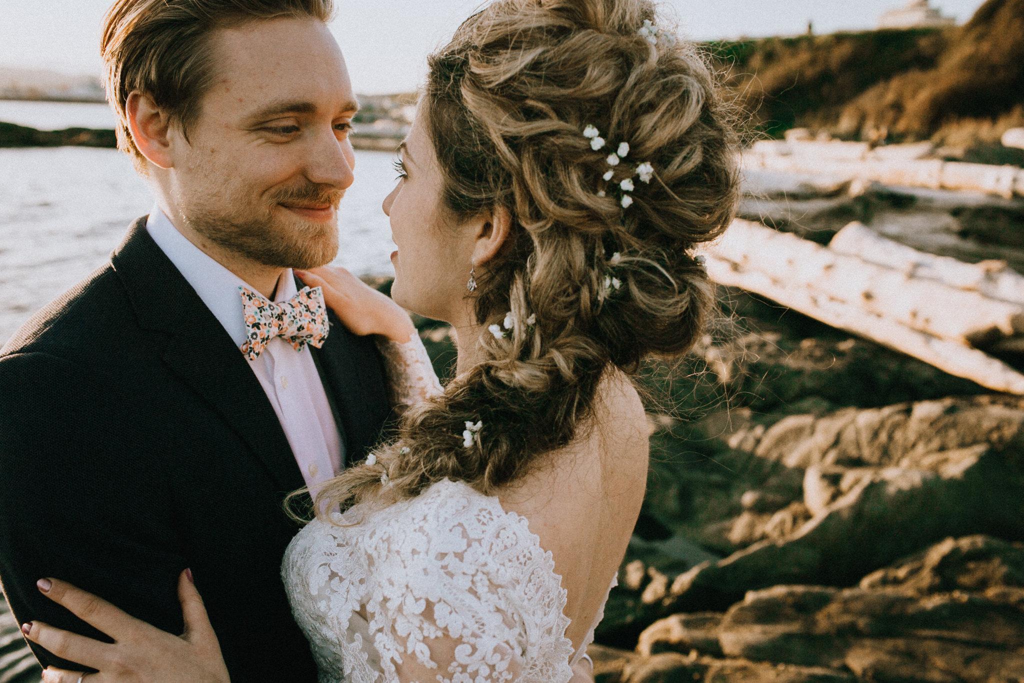 Beach Bridal Session Artistry by Alexa Babys Breath in Brides Hair West Coast Weddings Magazine