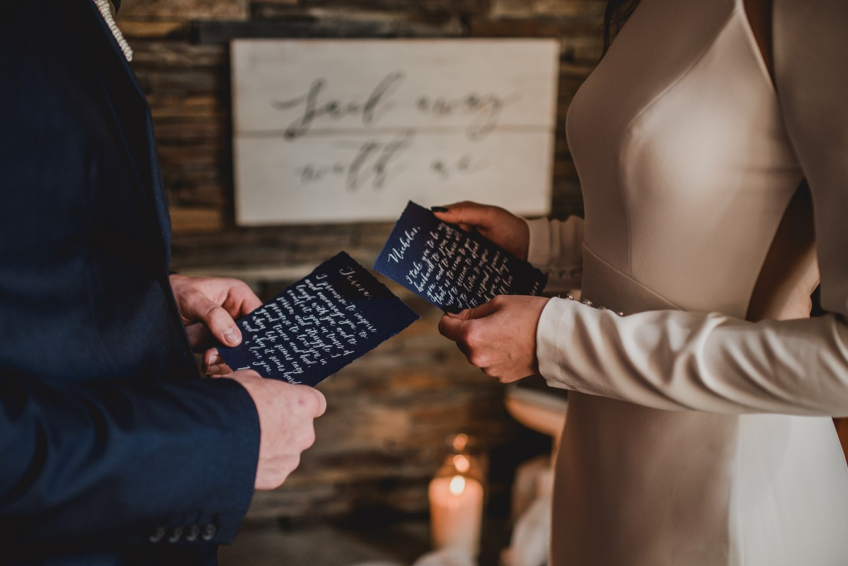 Vows by Couple at Brentwood Bay Resort on Vancouver Island West Coast Weddings Magazine