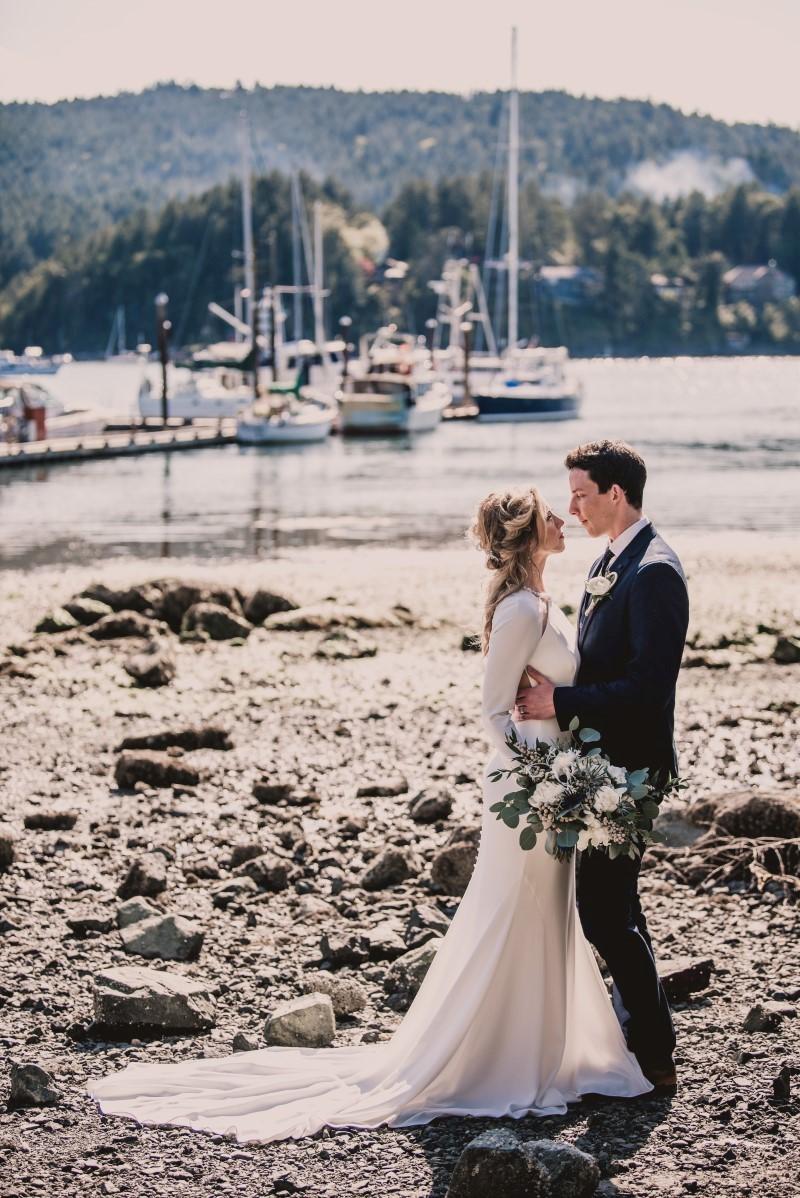 Nautical Blue Beauty at Brentwood Bay Marina West Coast Weddings Magazine on Vancouver Island