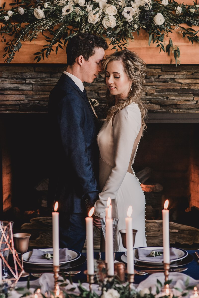 Newlyweds with gown by Bliss West Coast Weddings Magazine Brentwood Bay Resort