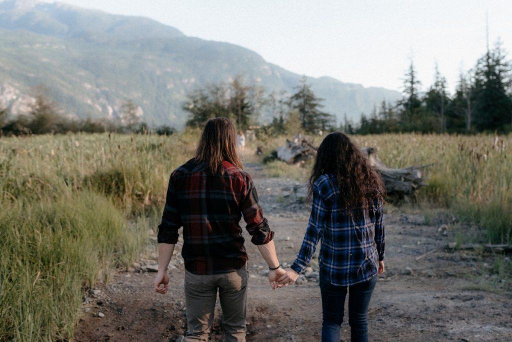 Squamish Engagement Session Holding Hands Vancouver Wedding Magazine