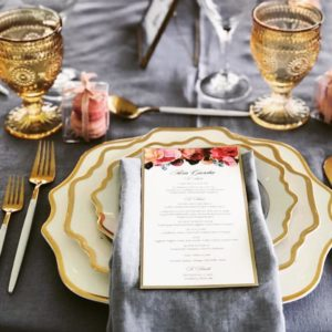 grey, pink and gold linens and colour palette West Coast Weddings Magazine