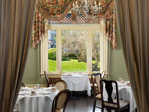 Tea is on at Beautiful Pink Tones in Guest Room at Pendray Inn and Tea House by Huntingdon Manor in Victoria British Columbia by West Coast Weddings Magazine