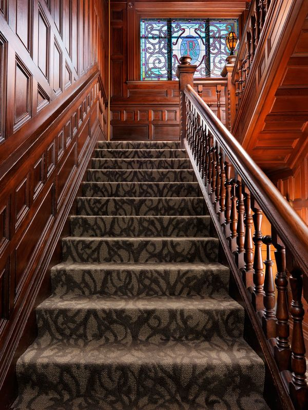 Grand Staircase Pendray Inn and Tea House by Huntingdon Manor in Victoria British Columbia by West Coast Weddings Magazine