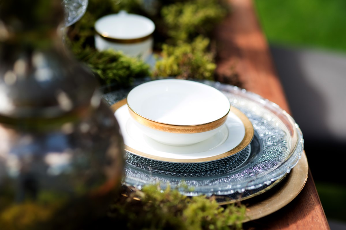 Enchanted Forest Dinnerware with Gold Edges by Beauty Bride and Jen Steele Photography