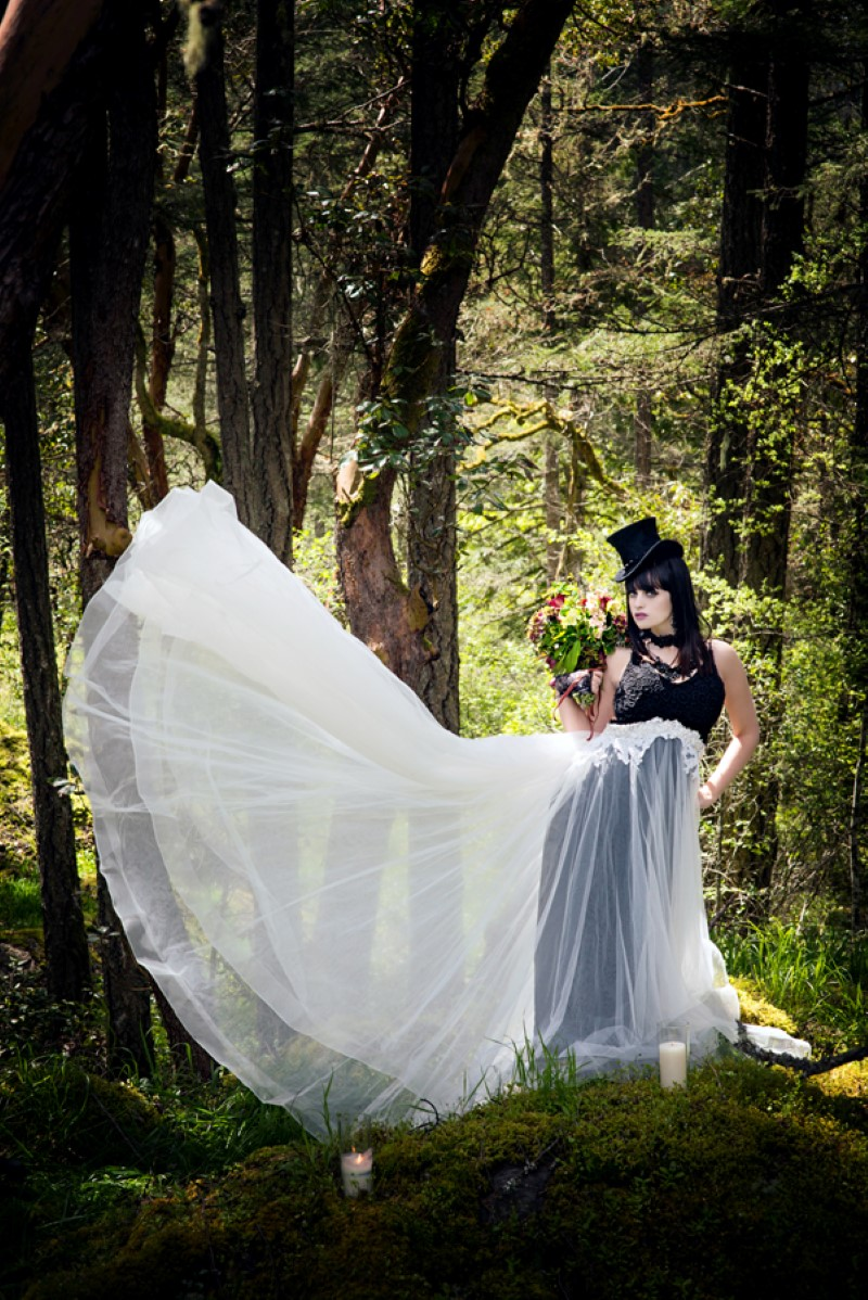 Enchanted Forest Bride with Gown by Beauty Bride Planning and Vancouver Island Wedding Magazine