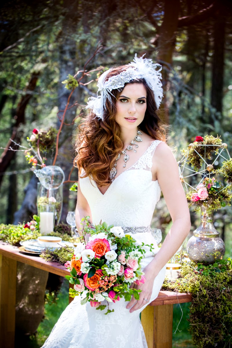 Enchanted Forest Bride with Head Piece by Lynda Marie Couture Millinery West Coast Weddings Magazine