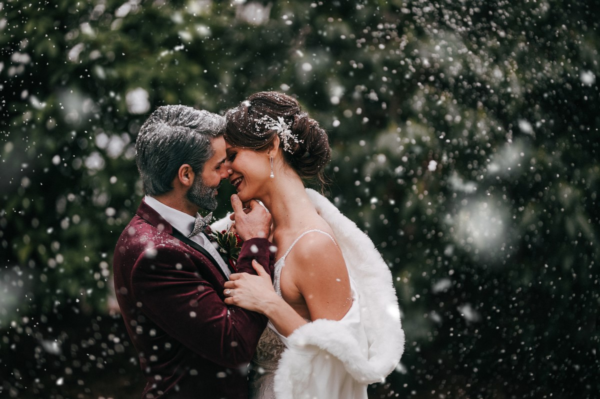 Holiday Glamour at Oak Bay Beach Hotel   Tasha Cline Photography   Beauty Bride   Cake by Taryn   Jennigs the Florist   Bliss Gowns & Events   Madison Paige Hair   Pretty Please Makeup Artistry   Newlyweds in snowflakes