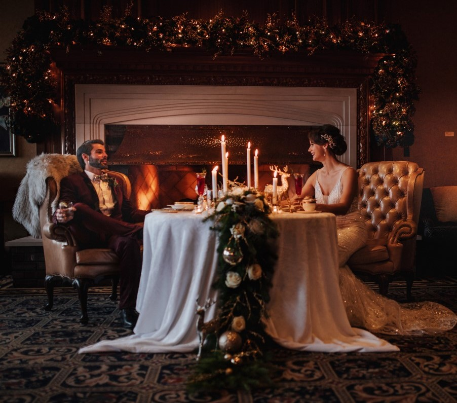 Holiday Glamour at Oak Bay Beach Hotel   Tasha Cline Photography   Beauty Bride   Cake by Taryn   Jennigs the Florist   Bliss Gowns & Events   Madison Paige Hair   Pretty Please Makeup Artistry   West Coast Weddings Magazine