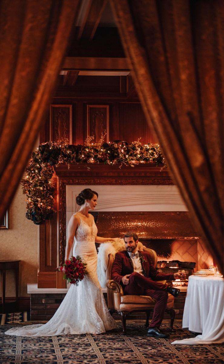 A Glamorous Holiday Wedding Couple at Oak Bay Beach Hotel on Vancouver Island