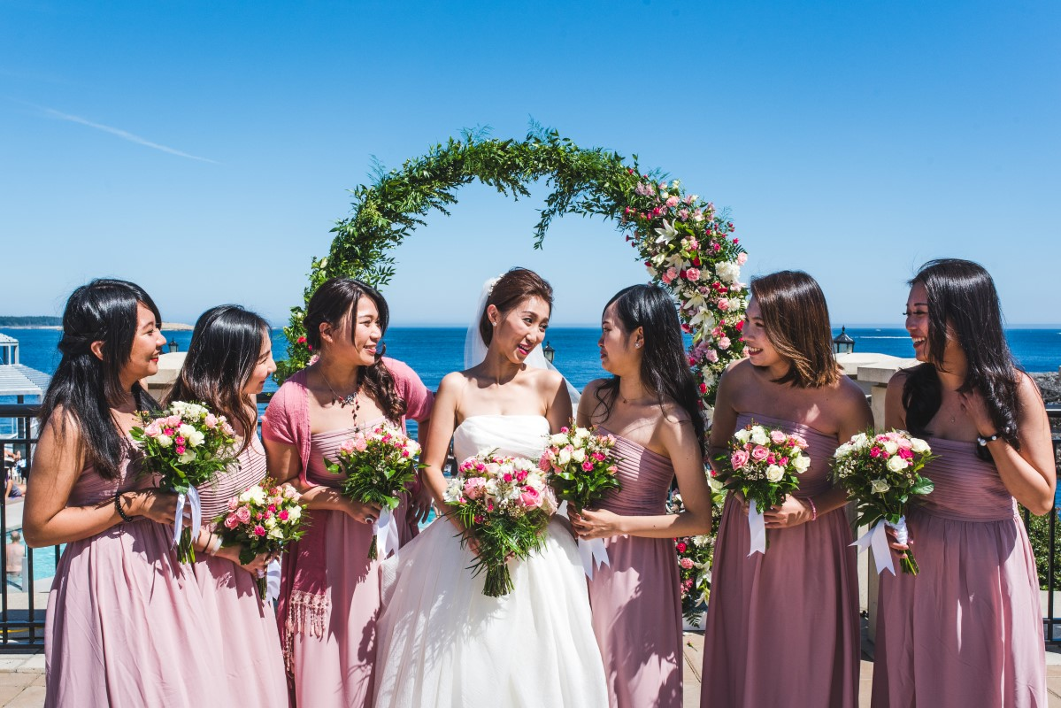 Oak Bay Beach Hotel with Ceremony Arch and Bridemaids