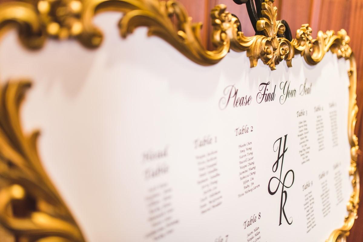 Oak Bay Beach Hotel Wedding Reception Decor Seating Chart in Gold Frame