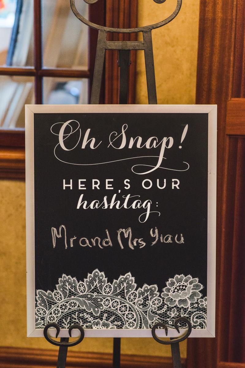 Oak Bay Beach Hotel Wedding with Reception Decor Sign for Hashtag