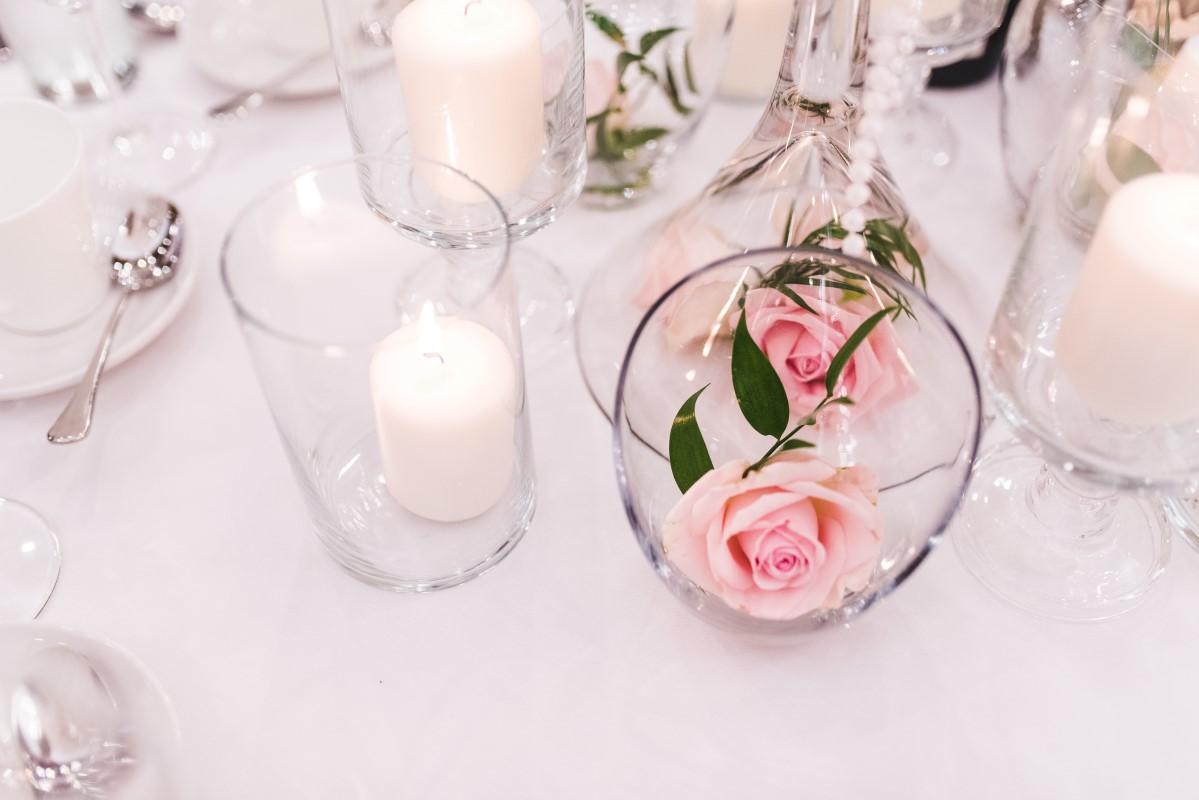 Oak Bay Beach Hotel Wedding Reception Pink Roses in Glass Bubble Decorate Victoria