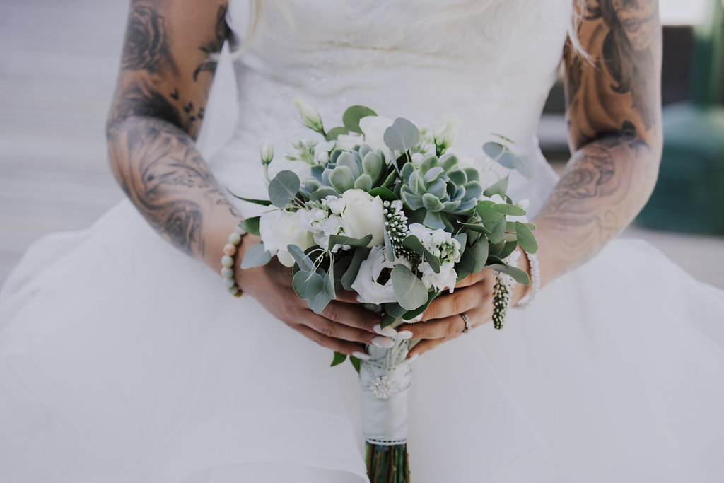 Painters Lodge Bridal Bouquet with Succulents by Creative Evenings of Weddings Campbell River