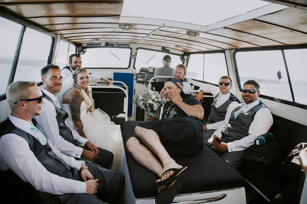 Painters Lodge Wedding Party on Boat to April Point of Clint and Kenzie