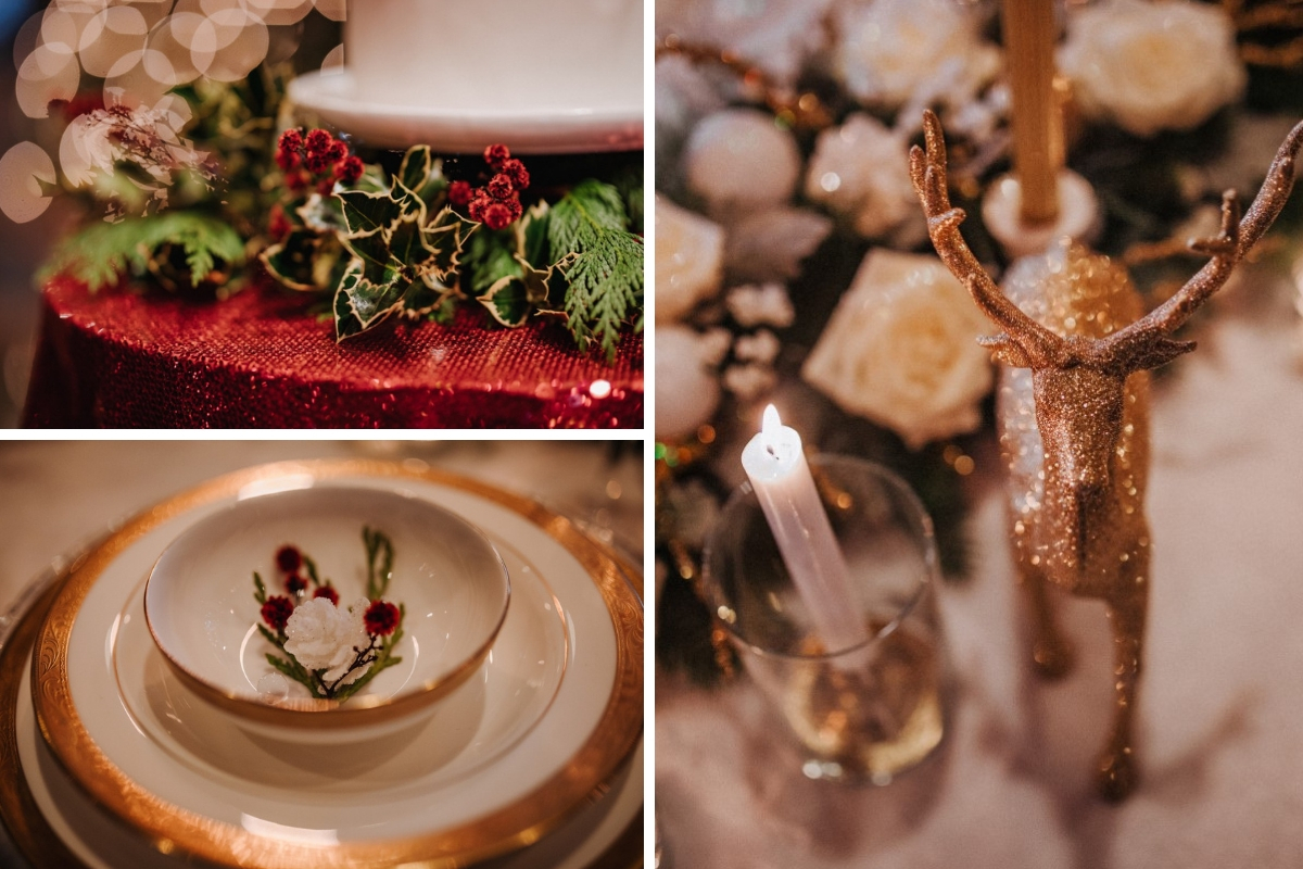 A Glamorous Holiday Wedding Reception Details Myrtle on Gold Edged Plates