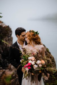 Celtic Bride with Bouquet of pink and white by Cartref Gardens Vancouver Island