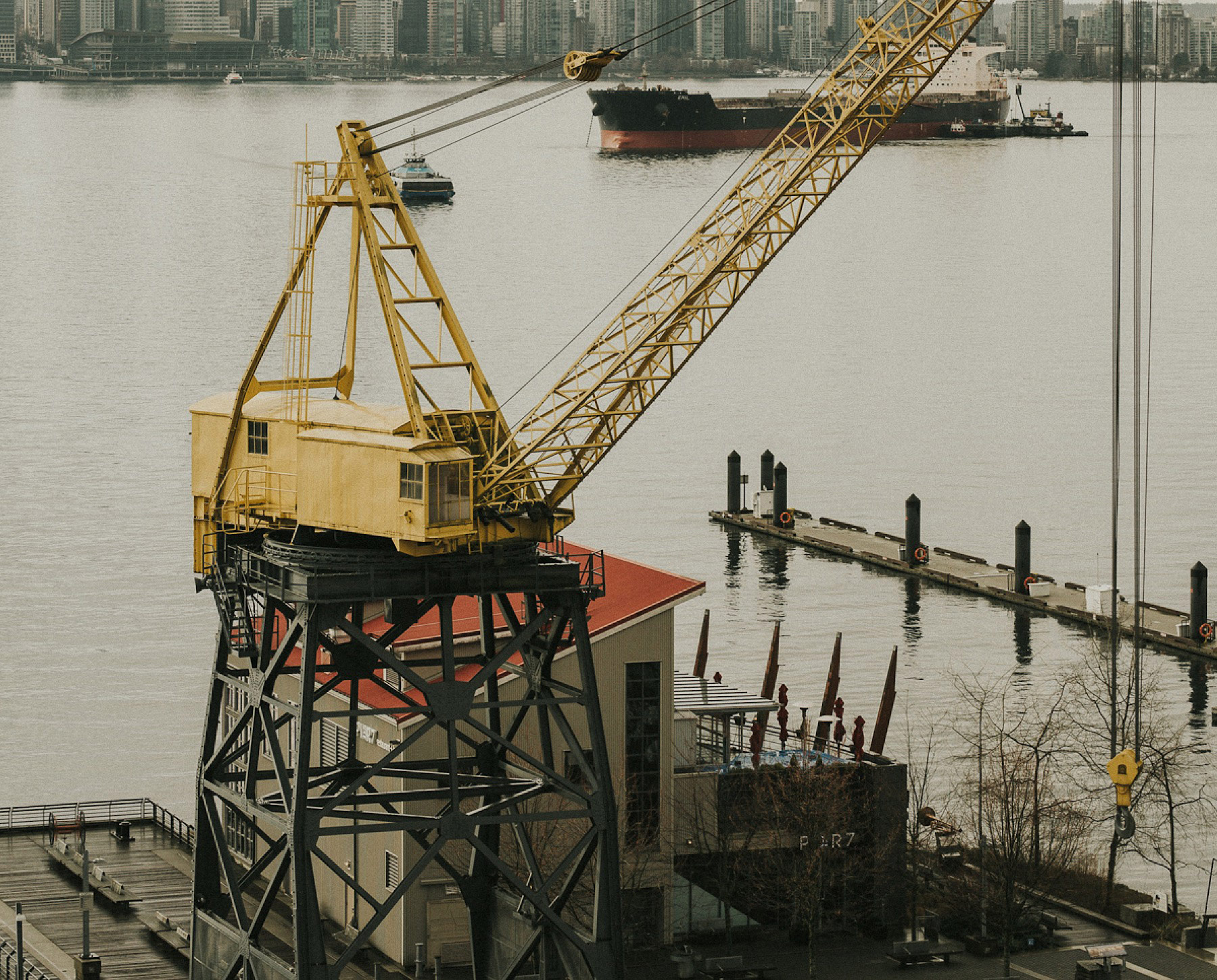 Crane outside Aston + Charlie - The Magical Cover Shot Vancouver Wedding