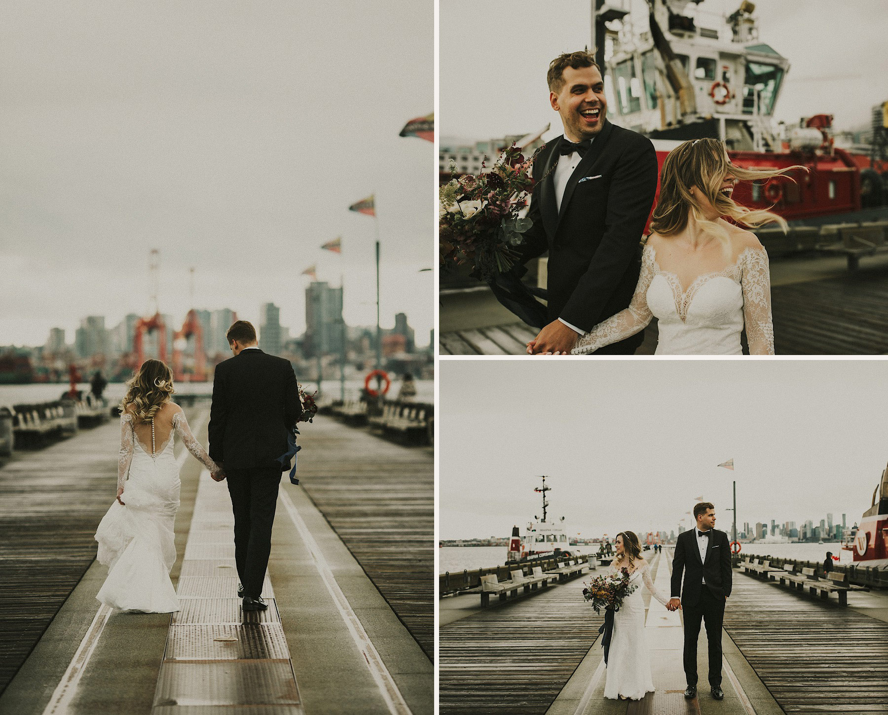 Couple on Pier The Apartment Photo Aston + Charlie - The Magical Cover Shot Vancouver Wedding