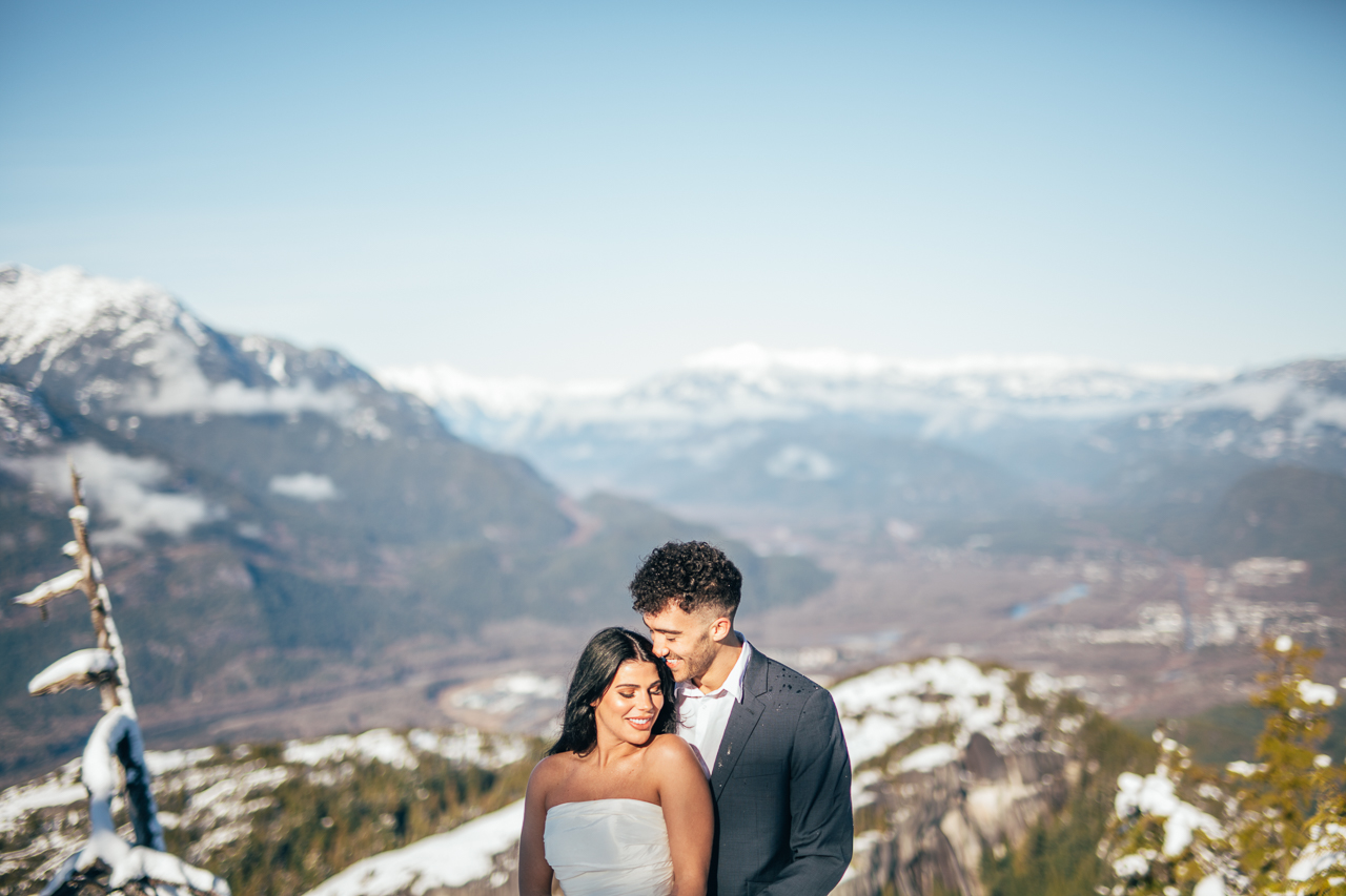 Sea to Sky Winter Dreamscape by Helen Sarah Photography Newlyweds on Bridge Vancouver Wedding Magazine