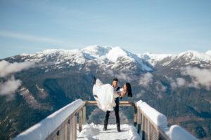 Sea to Sky Winter Dreamscape by Helen Sarah Photography Couple on Bridge Vancouver Wedding Magazine