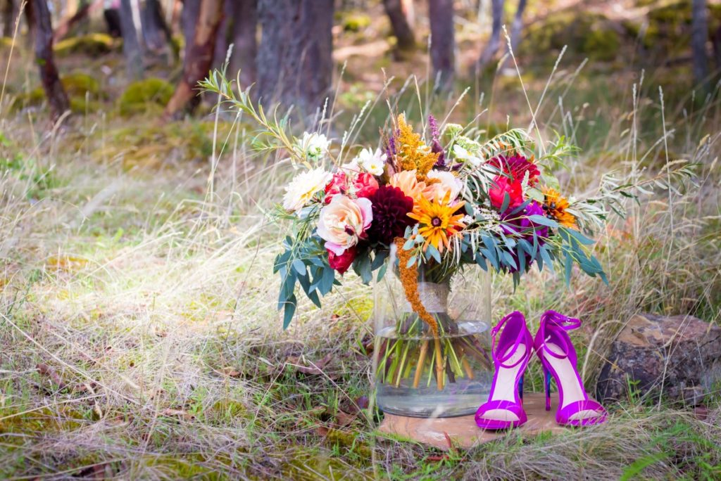 Spanish Style Bridal Bouquet and Purple Shoes Olympic View Golf Course Victoria Wedding Venue