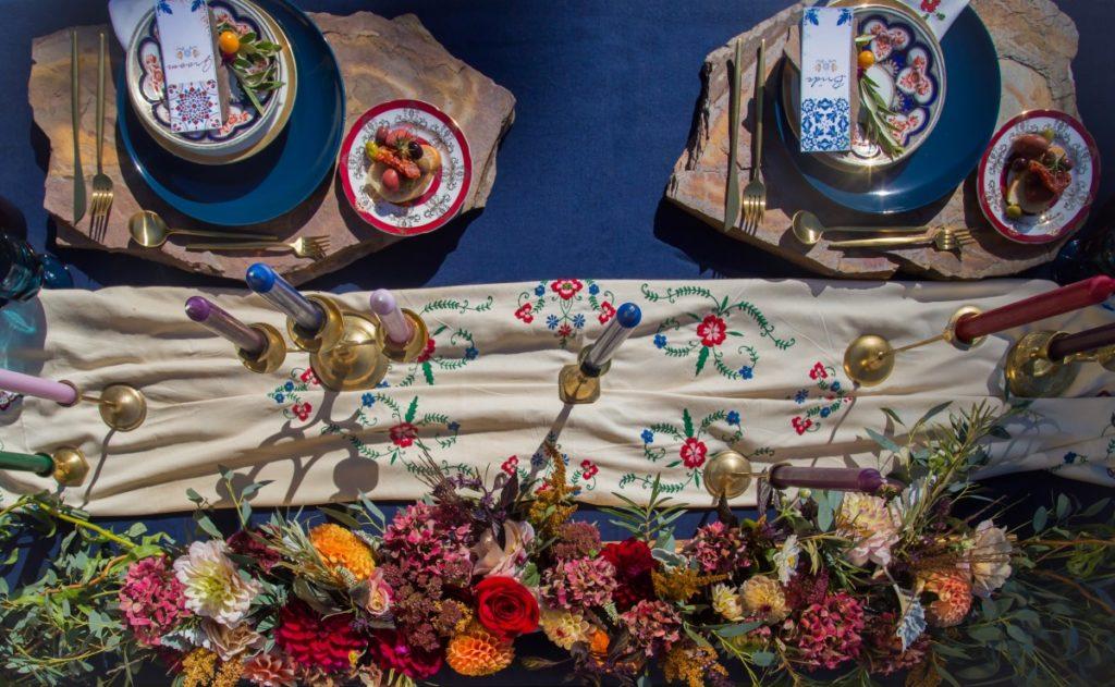 Spanish Style Wedding Reception Table Floral Runner Faire La Fete Linens Vancouver Island Wedding