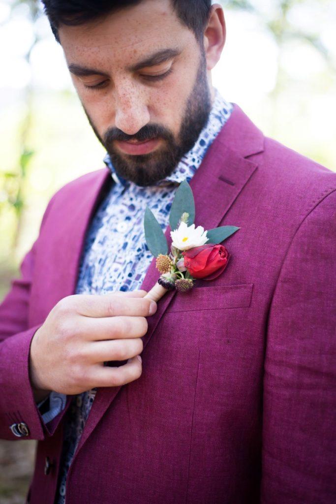 Spanish Style Groom with Purple Jacket Outlooks by Men on Vancouver Island Wedding