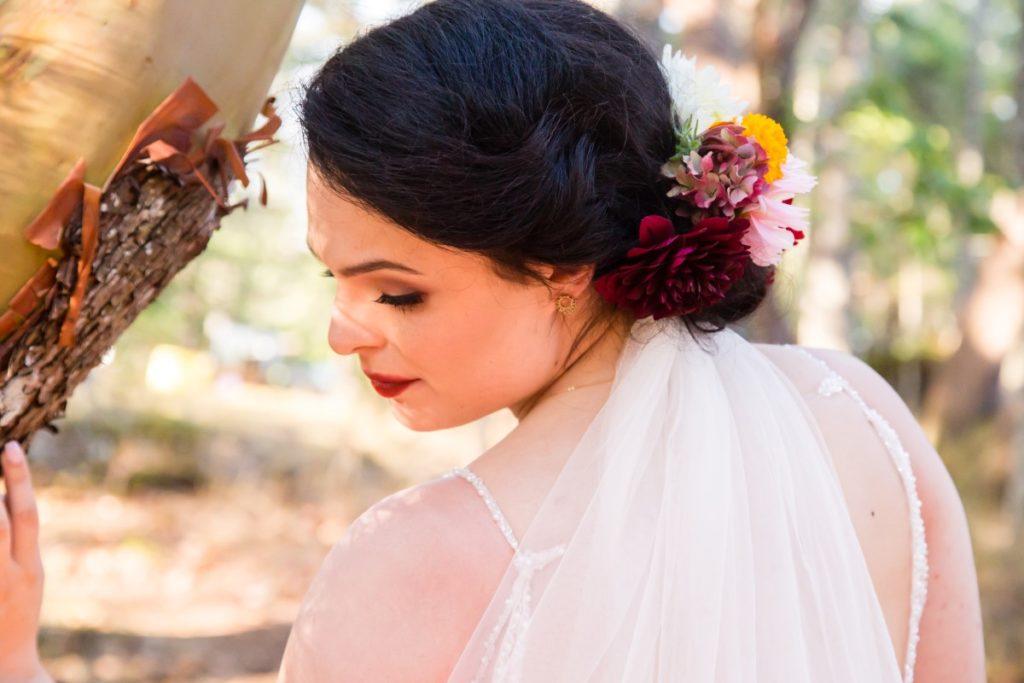 Spanish Style Bridal Hair with Flowers Ashley Osmond Vancouver Island Wedding Magazine