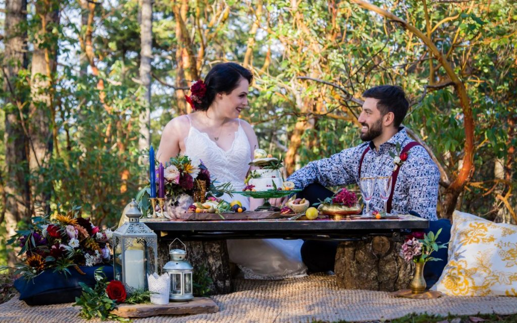 Spanish Style Couple at Outdoor Reception BC Wedding Magazine