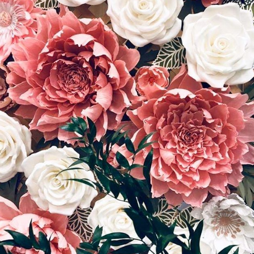 Detail in Pink Paper Flowers for Wedding