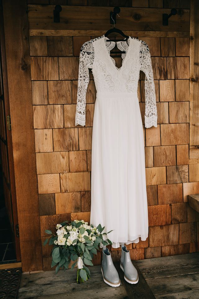 Tofino Elopement bridal gown by Lulus Wedding on Vancouver Island